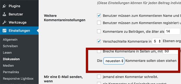 Wordpress Kommentare sortieren