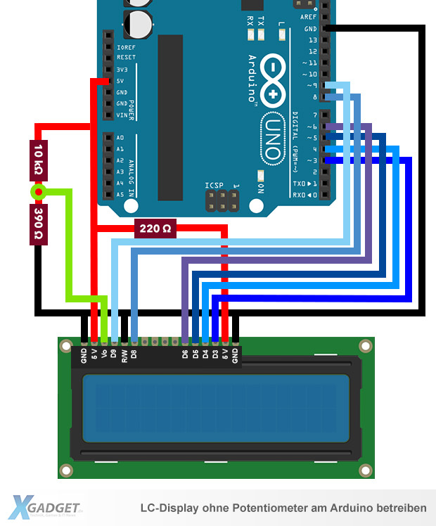 arduino lcd ohne potentiometer anschlie en. Black Bedroom Furniture Sets. Home Design Ideas